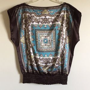 Tops - Scarf Print Blouse